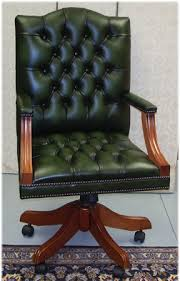 leather swivel office chair. Gainsborough Swivel Desk Chair In Green Leather Yew With Button Seat Office K