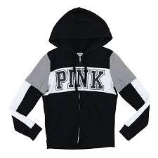 Victoria Secret Size Chart Hoodies Victorias Secret Pink Hoodie Full Zip Up Striped Sweatshirt
