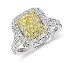blue nile fancy yellow cushion cut diamond ring in platinum 3 32