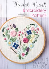 Hand Embroidery Patterns Amazing Floral Heart Hand Embroidery Pattern The Polka Dot Chair