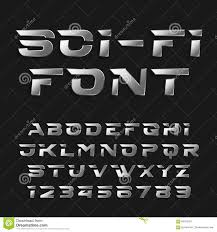 flyers numbers sci fi alphabet vector font futuristic chrome effect type letters