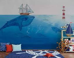 Oil Painting Sea Fish and Ship Nursery ...