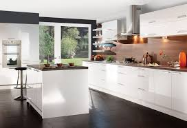 awesome white gloss kitchen ideas with illuminated cabinet and shelving