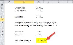 Gross Profit Formula Excel Net Profit Margin Formula Calculator With Excel Template