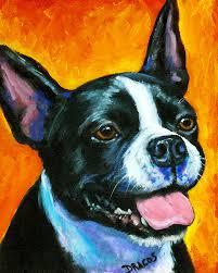 boston terrier painting boston terrier on orange by dottie dracos