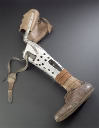 unknown era military peg leg with crutch