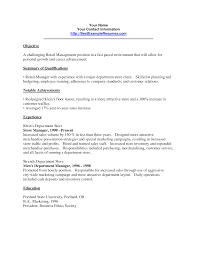 Objectivesor Retail Resumes Job Sample Manager Resume Management