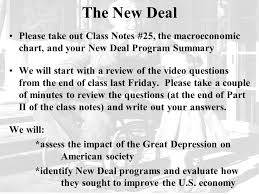 New Deal Programs Chart Answers The Great Depression Please Pick Up Focus 27 And Take The