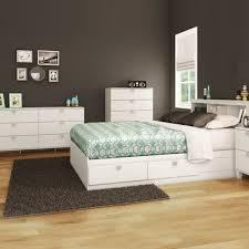 Pure White Karma 4 Piece Bedroom Set - Karma Full Mates Bed, Bookcase Headboard, Double Dresser and 5 Drawer Chest by South Shore
