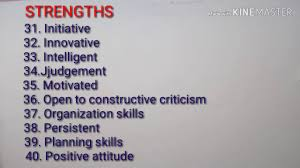 Skills And Strengths List