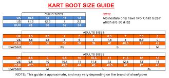 Sparco Size Charts Mk Racewear