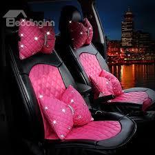 pink stylish design with diamond decors pu leatherette universal car seat covers