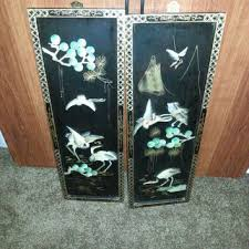 stunning vintage set of two lacquer oriental asian abalone mot