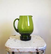 image 0 vintage water pitcher pitchers deep green glass