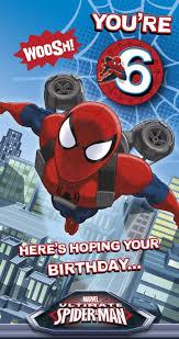 uk greetings spiderman 6th birthday card