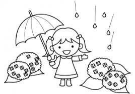 傘をさす女の子と紫陽花のぬりえ線画イラスト素材 イラスト無料