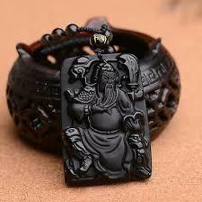 natural obsidian pendant guan yu