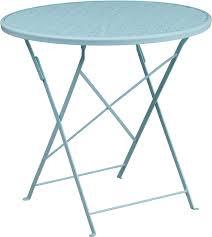 30 round sky blue indoor outdoor steel folding patio table