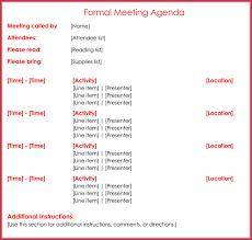 Formal Meeting Agenda Template - 12+ Best Samples For Word & Pdf