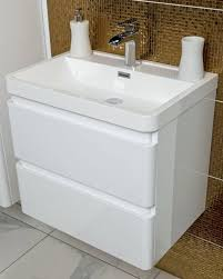 Zenit 600mm White Gloss Wall Hung Bathroom Vanity Unit Inc Basin