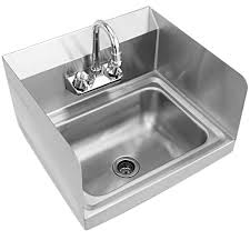 costway stainless steel hand washing sink nsf commercial with faucet and side splashes com