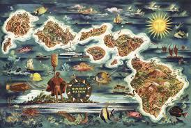 dole map of the hawaiian islands c 1950