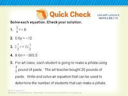 1 solve each equation
