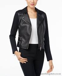 michael michael kors petite faux leather ponte moto jacket women mowy729