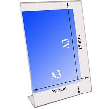 A3 Display Stands LSHAPED Acrylic Poster Menu Holder Perspex Leaflet Display Stands 60