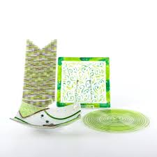 art glass plates green art glass plates and bowl blown glass art plates