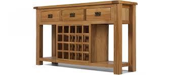 Rustic Oak Wine Rack Console Table Quercus Living
