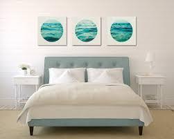 aqua wall art set ocean canvas set three canvas collection white and blue