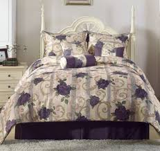 chezmoi collection 11pc jacquard purple rose comforter set window curtain queen