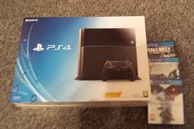 sony playstation 4 box. the playstation 4 is a noticeably smaller console than xbox one, and this reflected in boxes. slimline factor means box that\u0027s easily sony