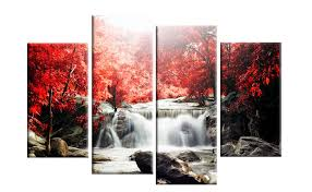 red autumn forest waterfall wall art canvas picture 4 panel split artwork give your home a  on photo canvas wall art with wall art lastest collection wall art canvas canvas art wall