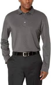Callaway Golf Shirt Size Chart Callaway Mens Long Sleeve French Terry Heathered Solid Polo Castlerock Heather 073 Large