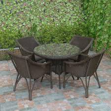 round wicker patio dining set