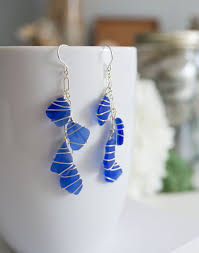 sea gl earrings the hurricane design with cobalt sea gl