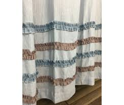 curtains surf shower curtain incredible blue and white ticking stripe shower curtain with chambray surf image
