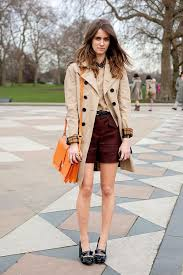 trench and shorts