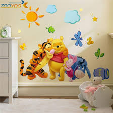 Animals Zoo Cartoon Winnie Pooh HOME Bedroom Decals Wall Stickers For Kids  Rooms Wall Decals Nursery Party Supply Gifts Poster In Wall Stickers From  Home ...