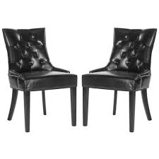 safavieh harlow black espresso bicast leather side chair set of 2