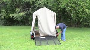 erecting the flatbed tent
