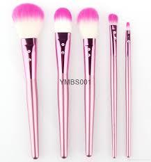 2016 professional makeup brush set with diamond sticking pink wooden handle