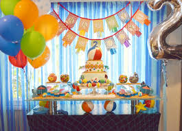 A Pool Party Splash Birthday Dessert Table Decor With Colorful