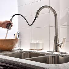 commercial brushed nickel stainless steel single handle high arc pull out sprayer pre kitchen sink faucets