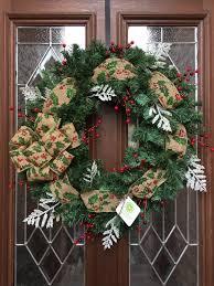 Christmas Wreath, Burlap Bow, Red Berries, Garland Wreath, Mistletoe Bow