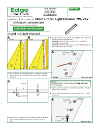 edge lighting micro grazer light channel 7w or 4 4w 24v user manual 3 pages