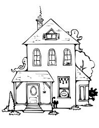 Simple Haunted House Coloring Pages Printable Free Printable