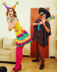 mexican and pinata couple costume for